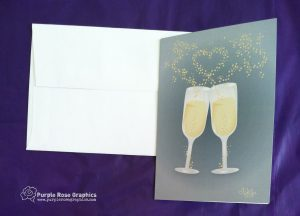 Champagne Glass Wedding Engagement Card