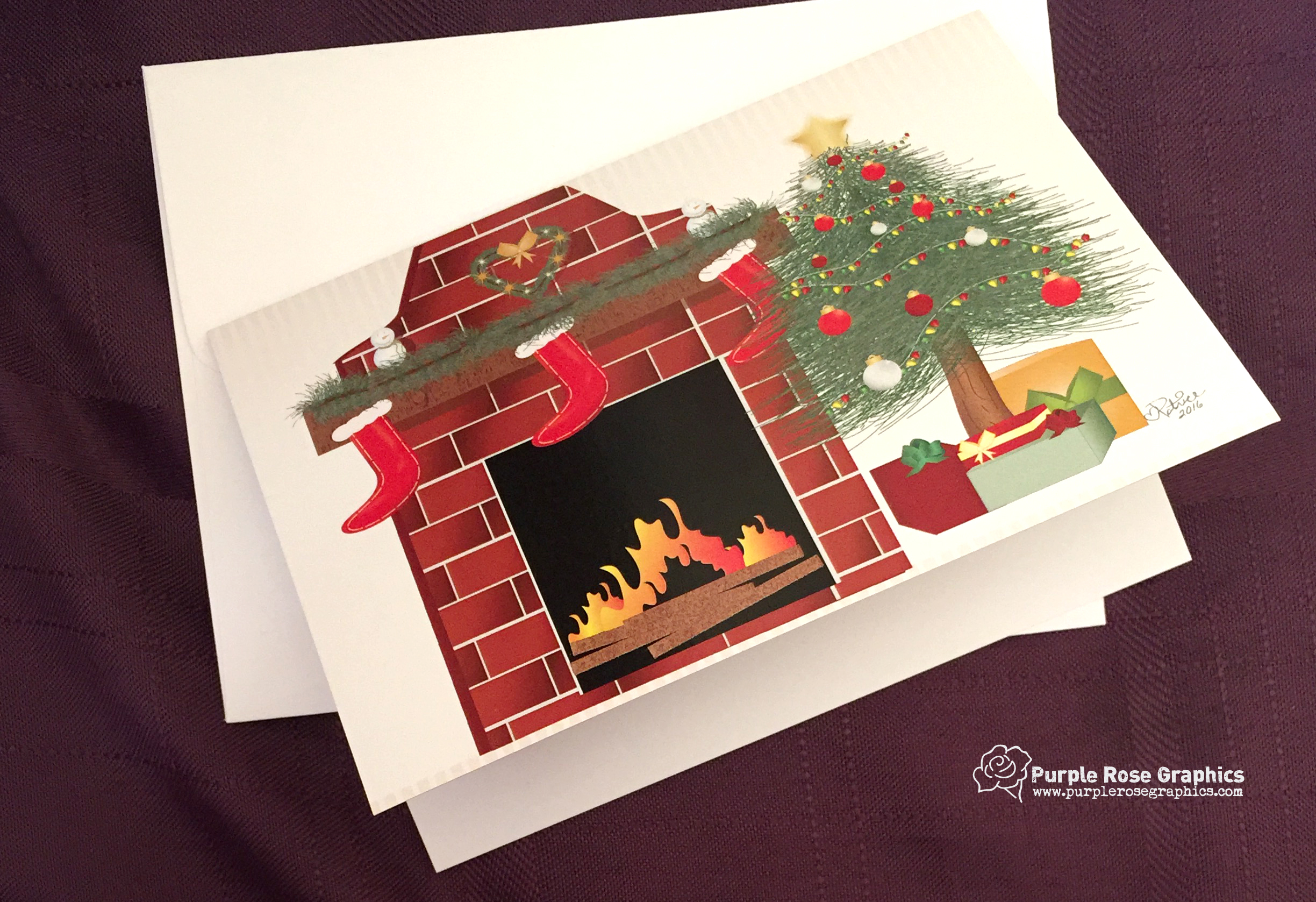 Christmas Tree and Stockings Hung with Care Card