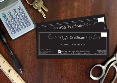 Custom Gift Certificates for Massage Therapist