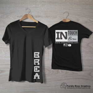 """Black T Shirts with Corporate Logo on Back and Large Text """"BREA"""" on front bottom right side"""