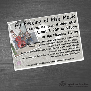 Small Flyer created by Purple Rose Graphics for Local Music Event