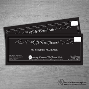 Gift Certificates created by Purple Rose Graphics for Local Business