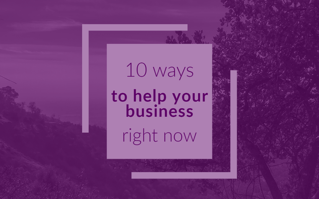 "pruple image with boxes that read ""10 ways to help your business"""